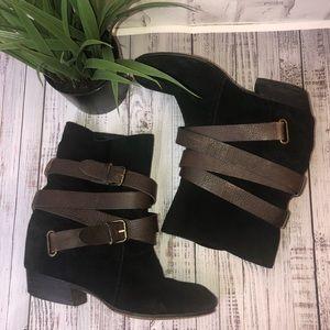 Zigigirl black suede ankle boots brown straps. 8.5